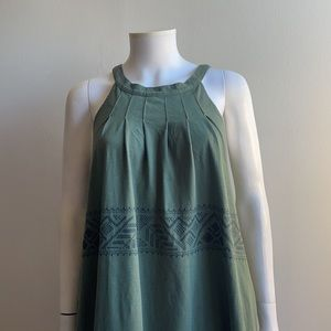 Green Embroidered Shift Dress The Gap XS Halter